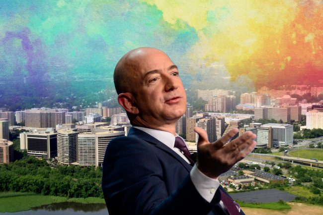 Crystal City, Virginia and Amazon CEO Jeff Bezos (Credit: iStock, Getty Images)
