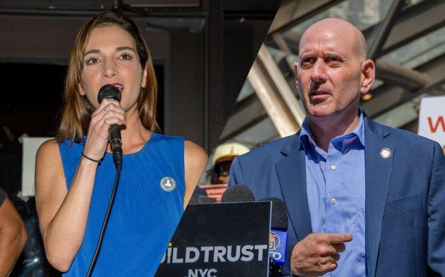 State Senator Julia Salazar and Assemblymember Harvey Epstein (Credit: Getty Images)