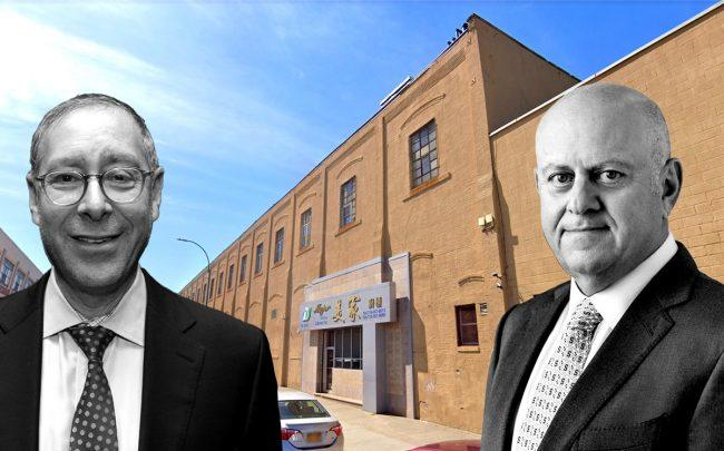 Dov Hertz and Prologis CEO Hamid Moghadam with 150 52nd Street in Sunset Park (Credit: Google Maps, Proologis)
