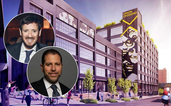 Union Crossing at 825 East 141st Street with The Bluestone Group's Eli Tabak and Madison Realty Capital's Josh Zegen (Credit: Union Crossing Bronx)