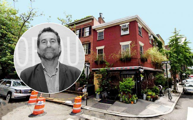 Ken Friedman (inset) and the Spotted Pig at 314 West 11th Street (Credit: Google Maps, Getty Images)
