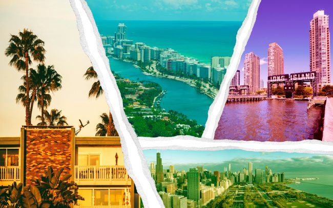 Clockwise from left: Los Angeles, Miami, New York, and Chicago (Credit: iStock)