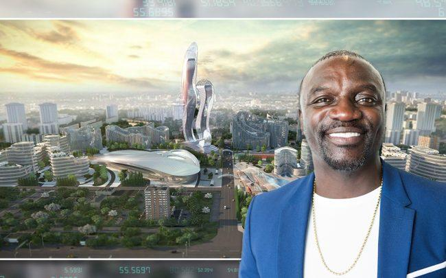 Akon and a rendering of Akon City in Senegal. (Credit: Getty Images and Hussein Bakri/BAD Consultant/Semer Group)