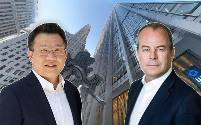 Fosun Property's Bo Wei, Refinitiv's David Craig and 28 Liberty Street (Credit: Getty Images, Google Maps)
