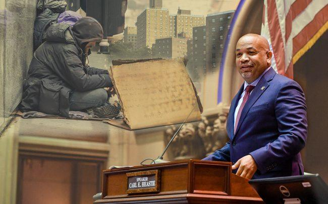 Carl Heastie highlighted homelessness and housing affordability in remarks to open the 2020 session (Credit: Facebook, Getty Images)