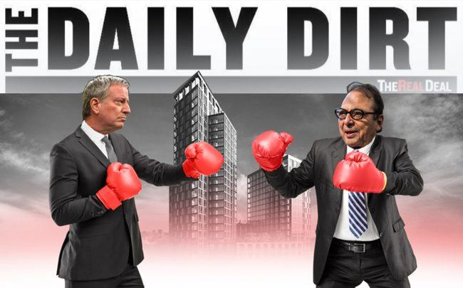 Mayor Bill de Blasio, a rendering of Halletts Point, and Douglas Durst (Credit: Getty Images, Durst)