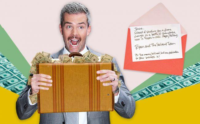 An illustration of Ryan Serhant and the note sent to Silverback Development (Credit: Getty Images, iStock)