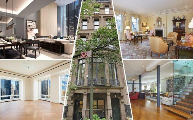 Clockwise from top left: 522 West 29th Street, 40 East 75th Street (center), 820 Fifth Avenue, 54 Thompson Street and 220 Central Park South