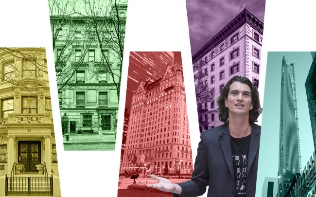 From left: 55 East 74th Street, 9 East 82nd Street, 1 Central Park South, 78 Irving Place with Adam Neumann and 111 West 57th Street (Credit: StreetEasy, Wikipedia, Getty Images)