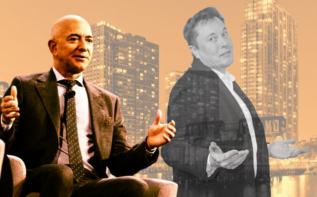 Amazon CEO Jeff Bezos and Tesla CEO Elon Musk with Long Island City (Credit: Getty Images, Wikipedia)