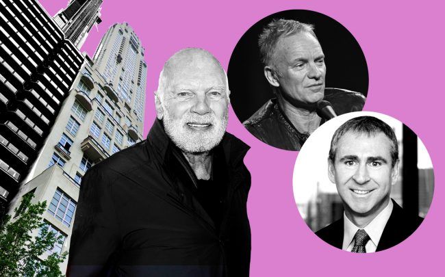 From left: 220 Central Park South, Vornado CEO Steve Roth, Sting and Ken Griffin (Credit: Google Maps, Getty Images)