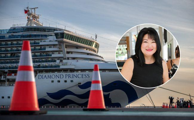 Kim Hamaura Phillips (inset) and the Diamond Princess cruise ship (Credit: Facebook and Getty Images)
