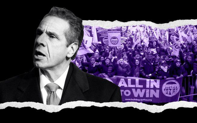Governor Andrew Cuomo and a SEIU 32BJ rally in October (Credit: Getty Images, SEIU 32BJ)