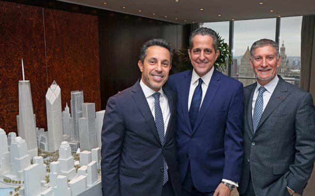 Silverstein Properties' Tal Kerret, Dino Fusco, Marty Burger and 7 WTC (Credit: Joe Woolhead)
