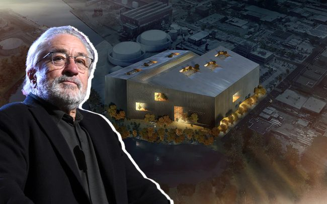 Robert De Niro and a rendering of Wildflower Studios (Credit: Getty Images and BIG)