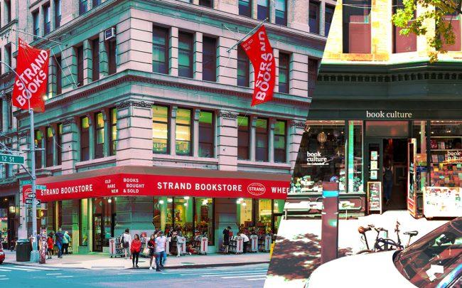 The Strand at 828 Broadway and Book Culture at 450 Columbus Avenue (Credit: Wikipedia, Google Maps)