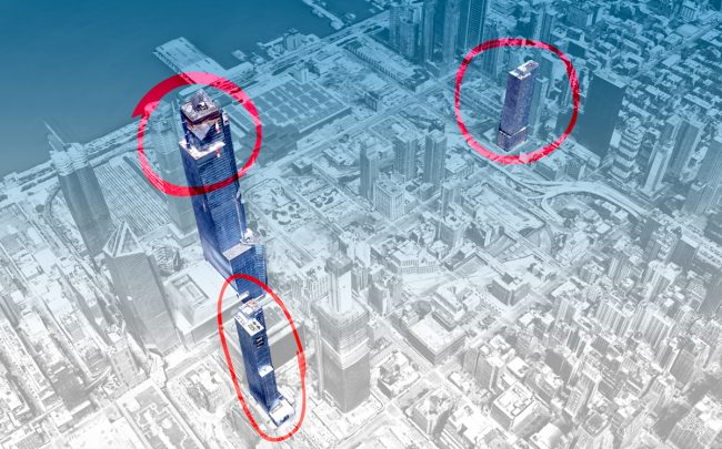 Clockwise from the bottom left: The Eugene (435 West 31st Street), the Hudson Yards observation deck condominium and 555 Tenth Avenue (Credit: Google Maps)