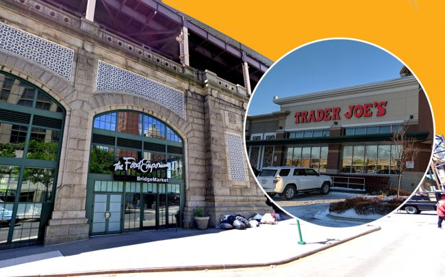 The former Food Emporium space at East 59th Street and First Avenue and a Trader Joe's (Credit: Google Maps, Wikipedia)