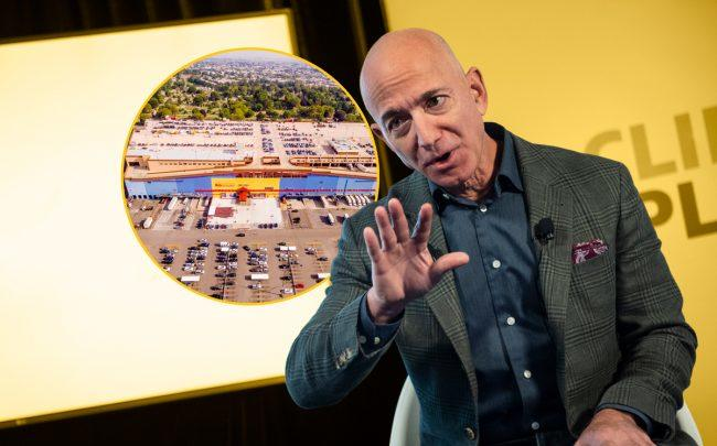 Amazon CEO Jeff Bezos and Rentar Plaza at 66-26 Metropolitan Avenue in Queens (inset) (Credit: Getty Images and Rentar Development)