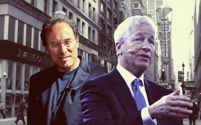 Extell CEO Gary Barnett and JPMorgan's Jamie Dimon (Credit: Getty Images)