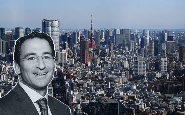 Jon Grey and Tokyo skyline (Credit: CHARLY TRIBALLEAU/AFP via Getty Images)