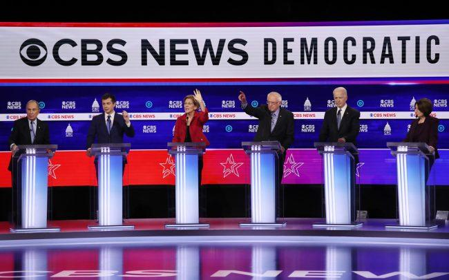 From left: Former New York City Mayor Mike Bloomberg, former South Bend, Indiana Mayor Pete Buttigieg, Sen. Elizabeth Warren, Sen. Bernie Sanders, former Vice President Joe Biden and Sen. Amy Klobuchar (Photo by Win McNamee/Getty Images)
