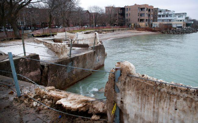 High water levels in Lake Michigan erode a walkway and seawall (Credit: Scott Olson/Getty Images)