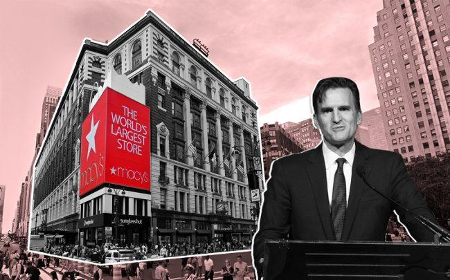 Macy's CEO Jeff Gennette and the Herald Square location (Credit: Getty Images and Google Maps)