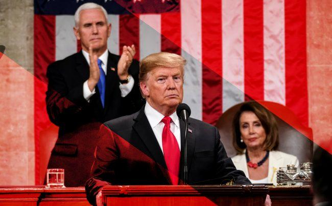 President Donald Trump delivers the State of the Union address flanked by US Vice President Mike Pence (left) and Speaker of the US House of Representatives Nancy Pelosi (right) (Credit: Getty Images)