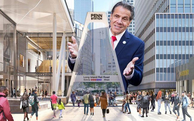 Governor Andrew Cuomo and a rendering of Penn Station (Credit: Getty Images, Governor's Office)