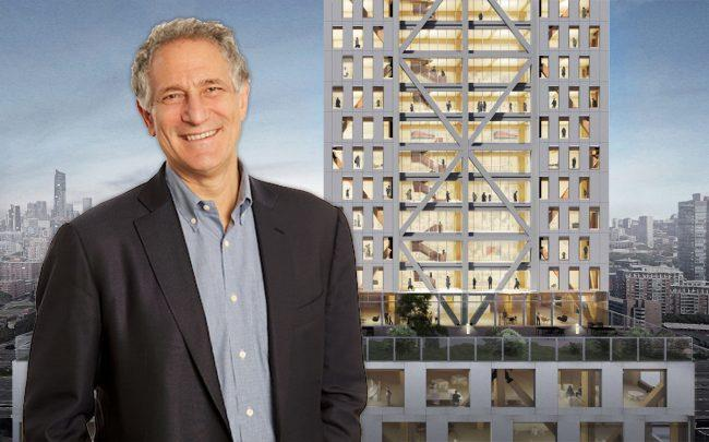 Sidewalk Labs CEO Dan Doctoroff and a rendering of the tower (Credit: Sidewalk Labs/Michael Green Architecture and Gensler)