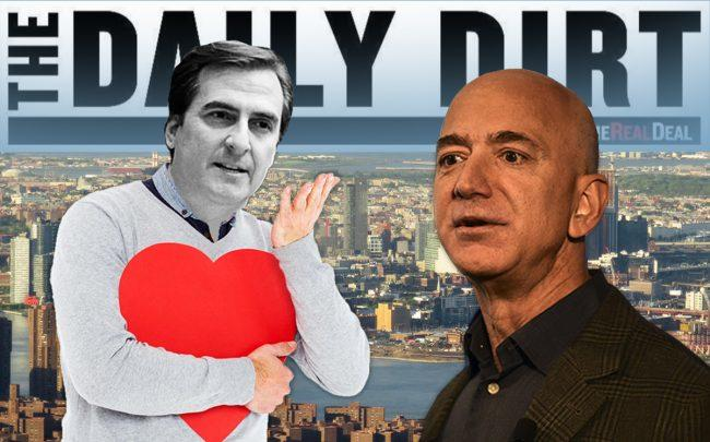 A photo illustration of Michael Gianaris and Jeff Bezos (Credit: Getty Images, Wikipedia, iStock)