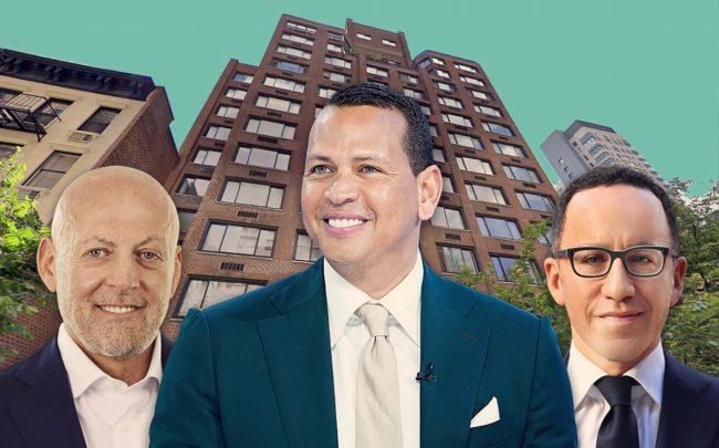 340 East 51st Street and from left: Ofer Yardeni, Alex Rodriguez and Adam Modlin (Credit: Getty Images, Google Maps)