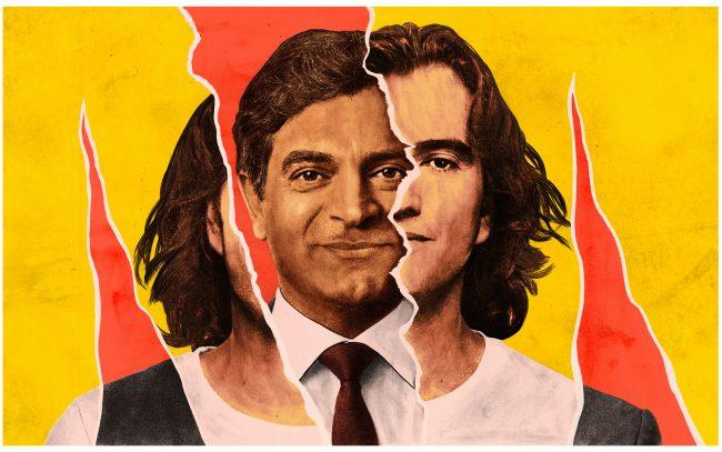 WeWork CEO Sandeep Mathrani and Adam Neumann (Illustration by Zach Meyer)