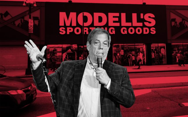 Modell's CEO Mitch Modell and a Modell's store in Brooklyn (Credit: Getty Images,Wikipedia)