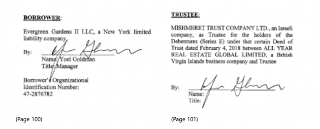 "In what the trust company has called a ""technical mistake,"" Yoel Goldman appears to have signed the mortgage document on behalf of not only his own LLC, but also Mishmeret Trust Company. (Source: ACRIS)"