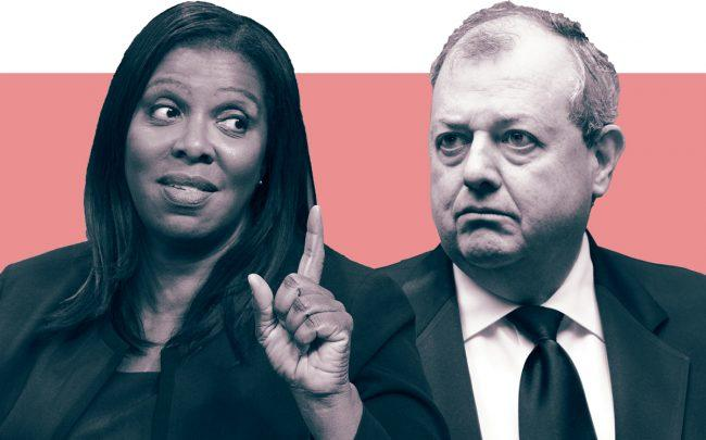 New York Attorney General Letitia James and REBNY president James Whelan (Credit: James by Bonnie Biess/Getty Images for SiriusXM; Whelan by Anuja Shakya)