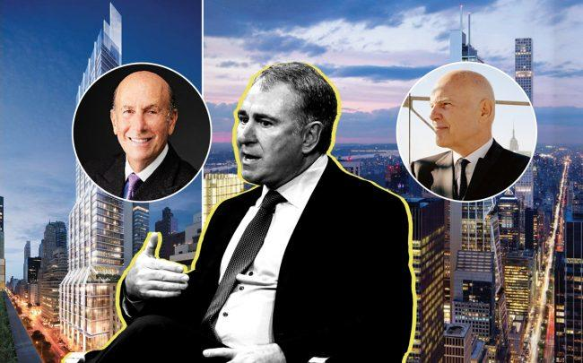 From left: L&L Holding Company's 425 Park Avenue with CEO David Levinson, Citadel Securities founder Ken Griffin, and Vornado Realty Trust's 350 Park Avenue with CEO Steve Roth (Credit: (Photo by Michael Kovac/Getty Images; L&L Holding Company; Vornado)