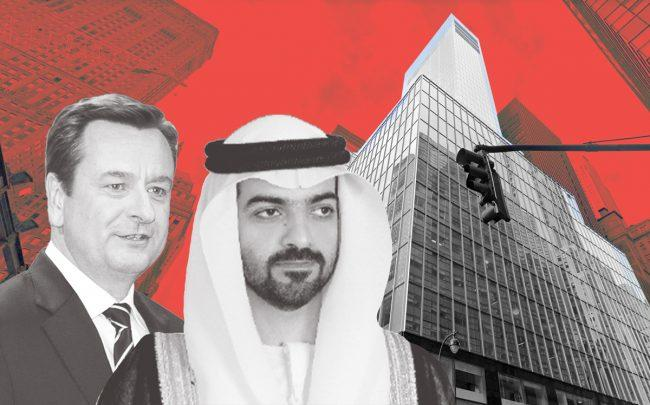 Munich RE CEO Joachim Wenning, ADIA managing director Hamed bin Zayed Al Nahyan and 330 Madison Avenue (Credit: Getty Images, Google Maps)