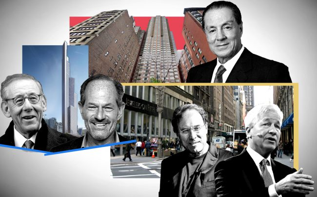 From left: Steve Ross, Eliot Spitzer and a rendering of 451 10th Avenue; Eyal Ofer and 10 East 29th Street; Extell CEO Gary Barnett and JPMorgan's Jamie Dimon with the Diamond District (Credit: Getty Images; Illustration by The Real Deal)