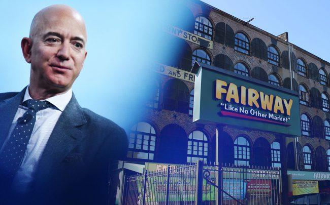 Amazon CEO Jeff Bezos in front of Fairway Market in Brooklyn (Credit: MANDEL NGAN/AFP via Getty Images; Jules Antonio via Flickr)