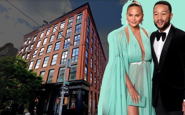 Chrissy Teigen and John Legend with 374 Broome Street (Credit: Karwai Tang/Getty Images; Google Maps)
