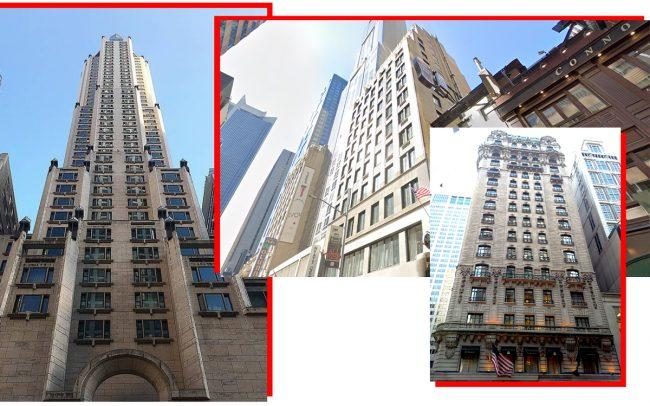 From left: Four Seasons Hotel at 57 East 57th Street, Room Mate Grace Hotel at 125 West 45th Street and the St. Regis Hotel at 2 East 55th Street(Credit: Four Seasons; Google Maps; Fashawks8 via Wikipedia)