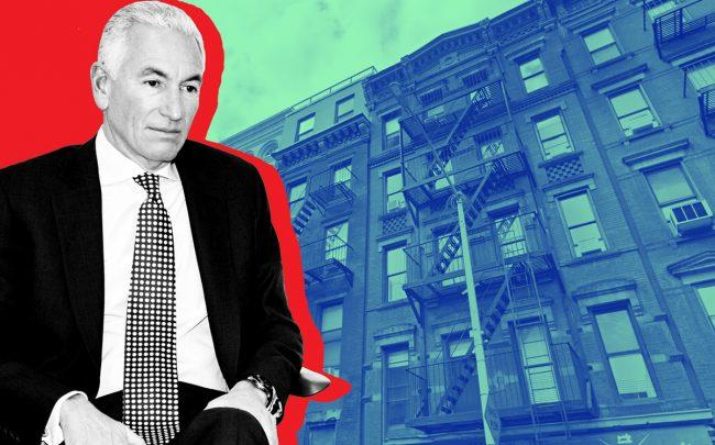 Charles Kushner and 331 East 9th Street (Credit: Kusner Photo by Ilir Bajraktari/Patrick McMullan via Getty Images; Google Maps)