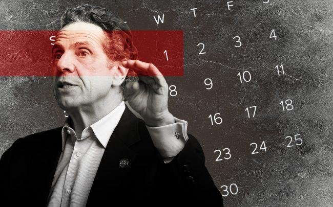 Gov. Andrew Cuomo (Cuomo by John Lamparski/NurPhoto via Getty Images; Illustration by The Real Deal)
