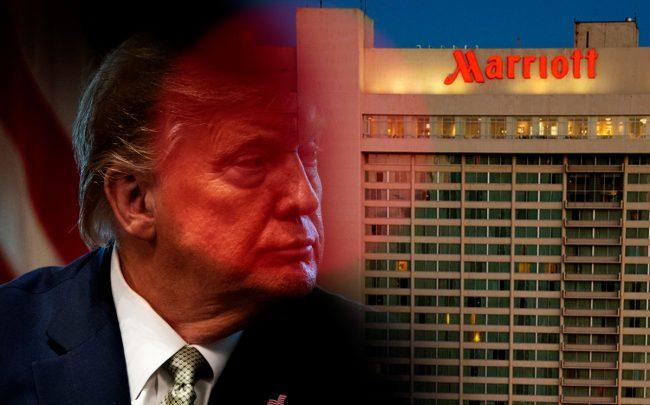 The U.S. hotel industry is asking the Trump administration for a $150 billion bailout. (Credit: Trump by Drew Angerer/Getty Images; Eric Pancer via Wikipedia Commons)