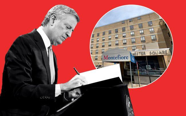Mayor Bill de Blasio and Westchester Square Hospital in the Bronx (Credit: Lev Radin/Pacific Press/LightRocket via Getty Images; Google Maps)