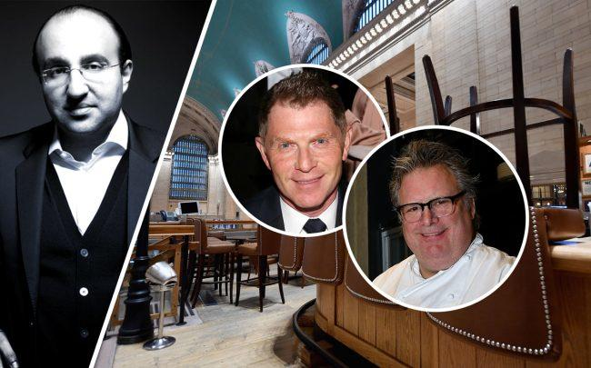 The Restaurant Network's Steven Kamali with Bobby Flay and David Burke (right photo by ANGELA WEISS/AFP via Getty Images)