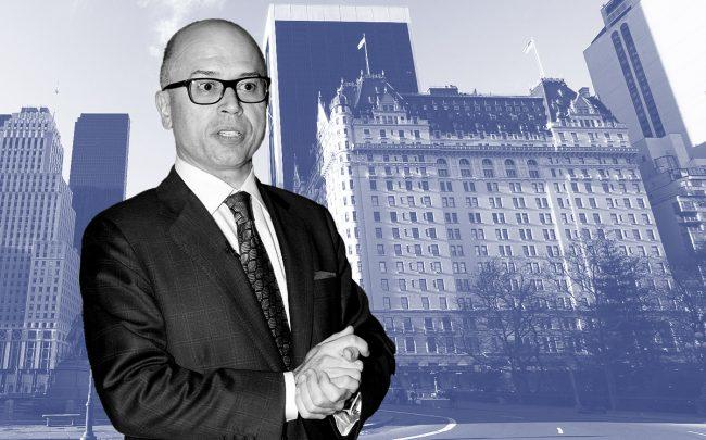 Plaza Hotel managing director George Cozonis with the Plaza Hotel at 768 5th Avenue (Credit: Cozonis by Fernanda Calfat/Getty Images)