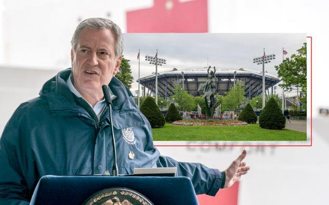 Mayor Bill de Blasio and the Billie Jean King National Tennis Center (Credit: Ron Adar / Echoes Wire/Barcroft Media via Getty Images; Ajay Suresh via Wikipedia Commons)